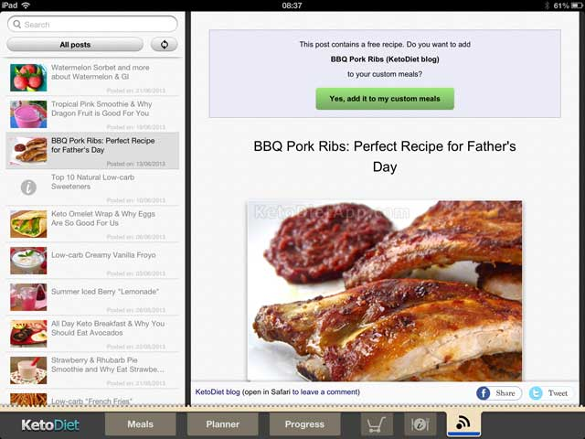 KetoDiet for the iPad: New update with Blog Integration
