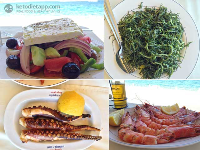 A healthy lunch at the seaside: Greek salad, Horta, grilled octopus and king prawns.