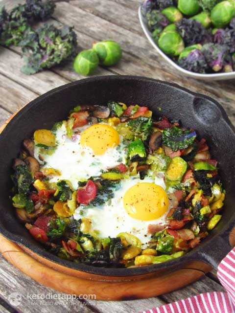 Easy Brussels Sprout, Bacon & Egg Hash
