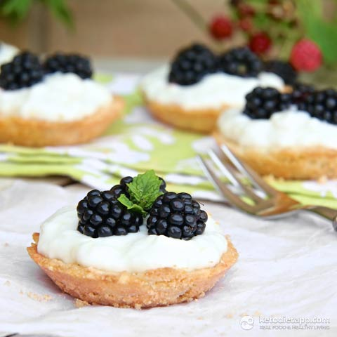 Blackberry & Lemon Mini Tarts (Low-carb, Paleo)