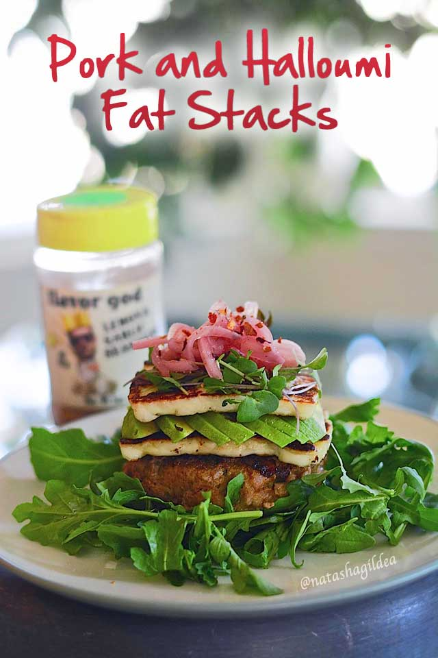 Keto Pork and Halloumi Burger Stacks