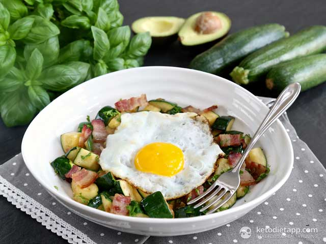 Keto Bacon Zucchini Breakfast Hash
