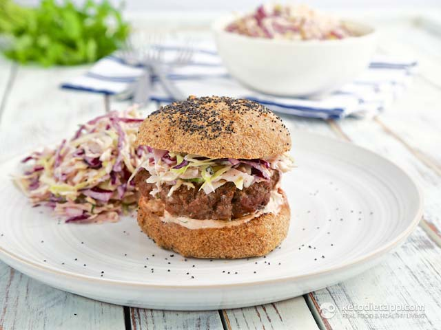 Keto Burger with Russian Slaw