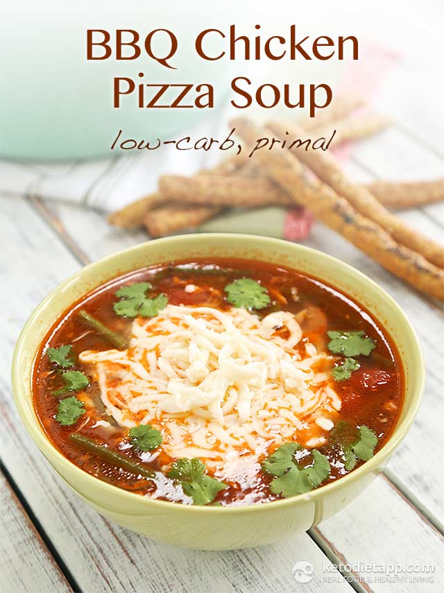 Keto BBQ Chicken Pizza Soup