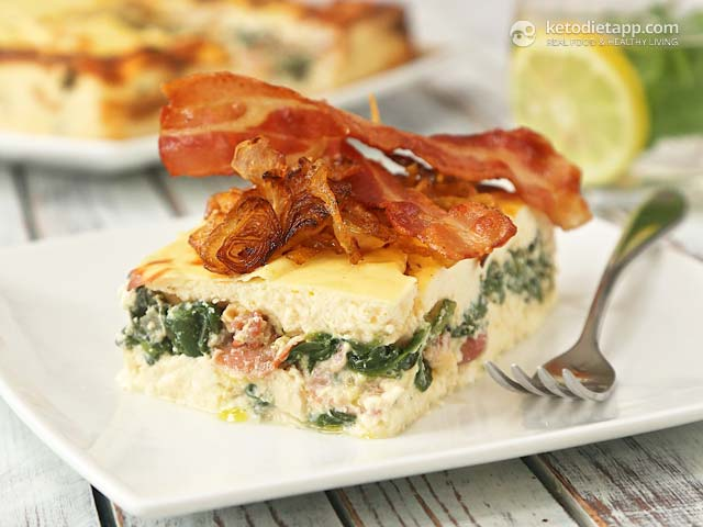 Savory Keto Cheesecake with Spinach, Bacon and Caramelized Onion
