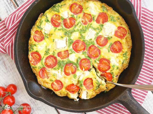 Quick Frittata with Tomatoes and Cheese | The KetoDiet Blog