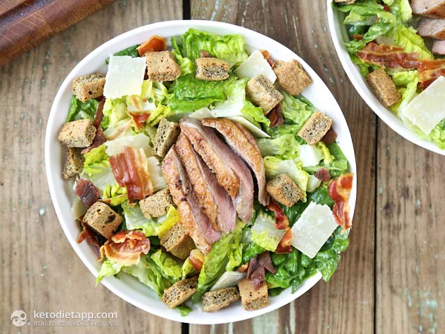 Duck Caesar Salad with Low-Carb Croutons