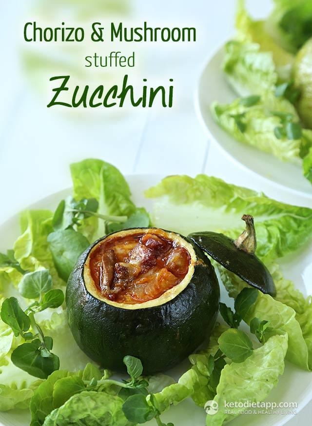 Chorizo & Mushroom Stuffed Zucchini