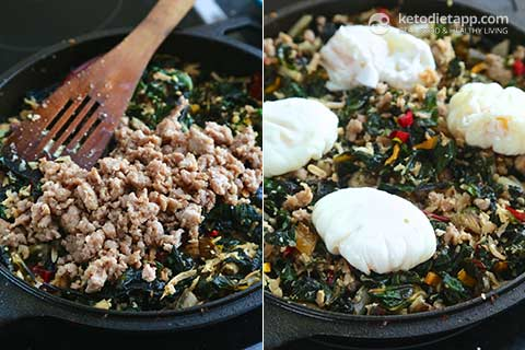 Low-Carb Rainbow Chard & Sausage Hash