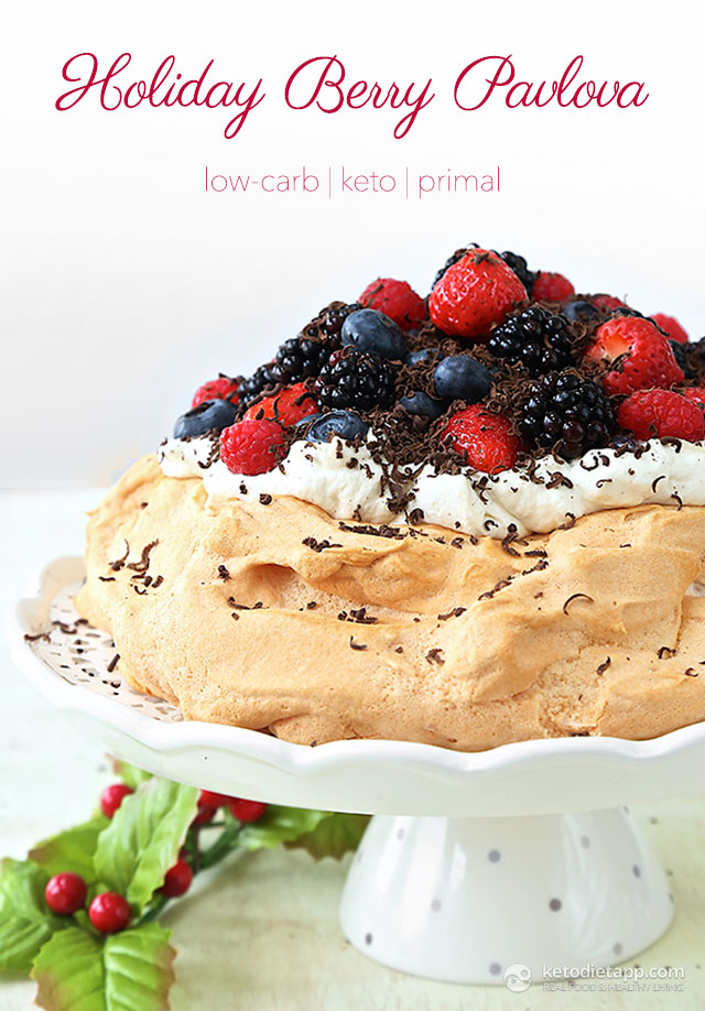 Low-Carb Holiday Berry Pavlova