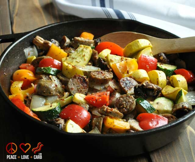 chicken sausage and vegetable skillet from peace love and low carb