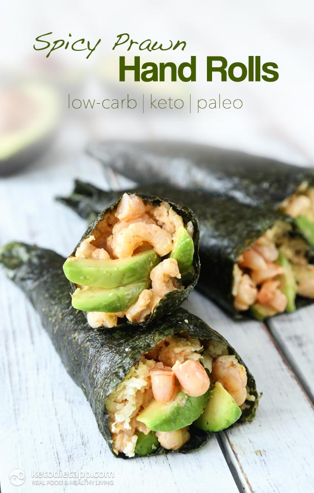 Low-Carb Spicy Prawn Hand Rolls