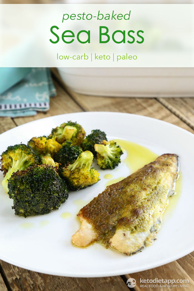 Low-Carb Pesto Baked Sea Bass