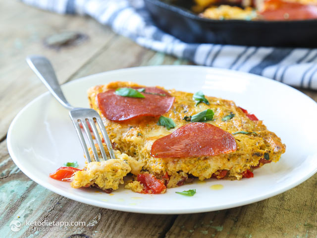 Keto Pizza Pepperoni Frittata