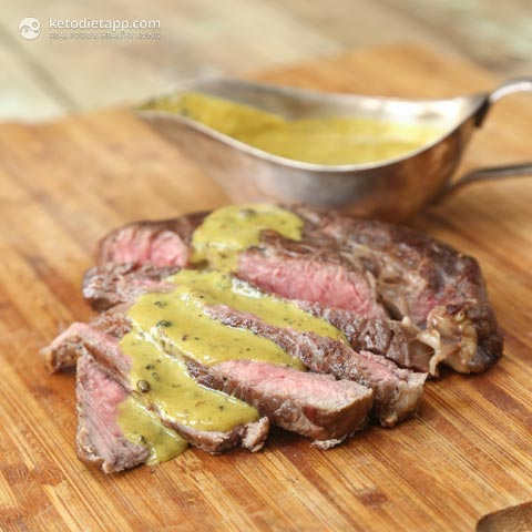 Steak with Quick Mustard & Peppercorn Sauce