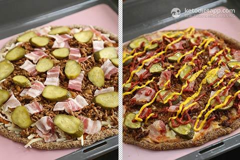 Keto Bacon Cheeseburger Pizza