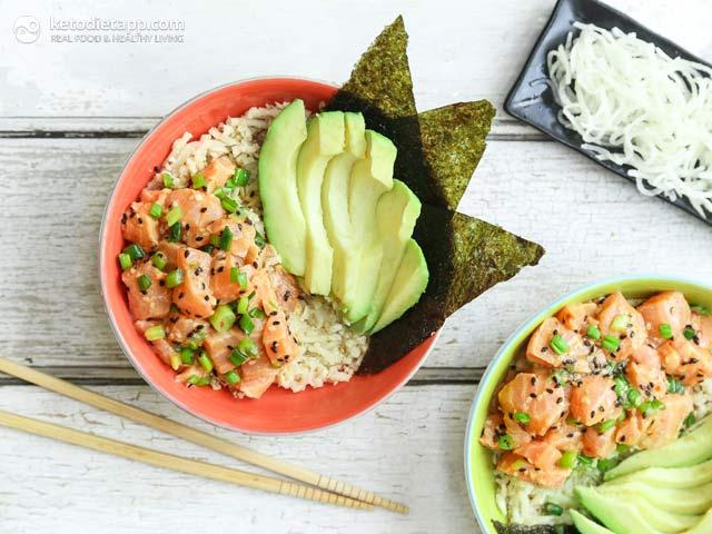 Keto Paleo Salmon Poke Bowl Ketodiet Blog