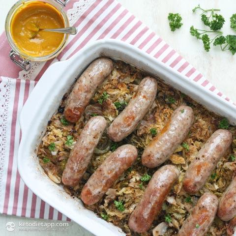 Low-Carb Sauerkraut Sausage Casserole