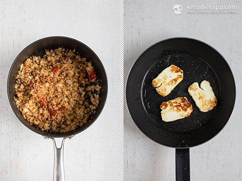 Mediterranean Cauli-Rice with Fried Halloumi