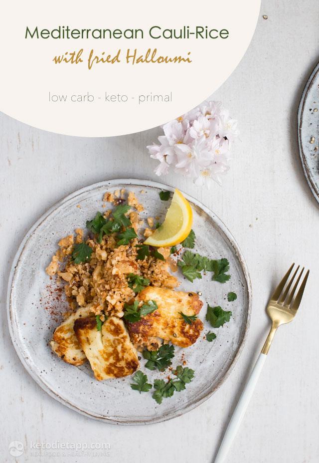 Mediterranean Cauli-Rice with Fried Halloumi