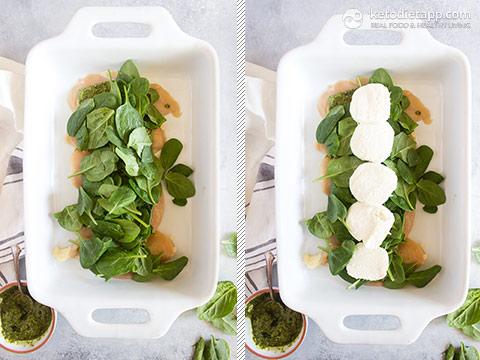 Low-Carb Pesto Caprese Chicken Casserole
