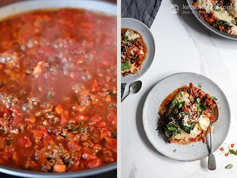 Beef, Spinach & Mozzarella One-Pot Bake