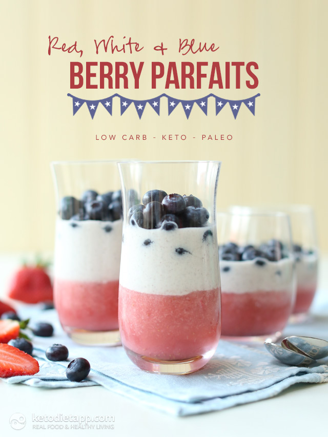 Low-Carb Red, White & Blue Berry Parfaits