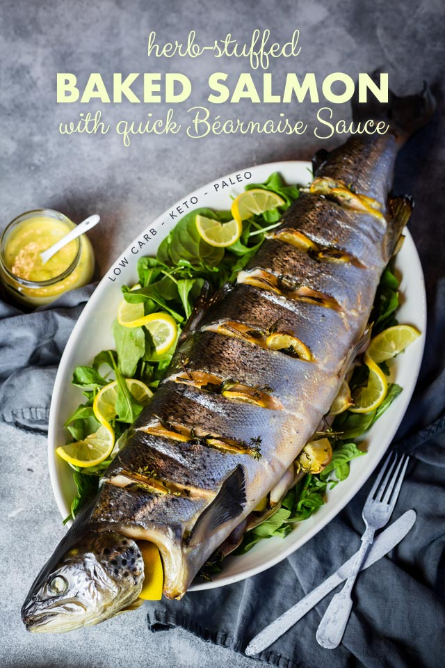 Herb-Stuffed Baked Salmon with Béarnaise Sauce