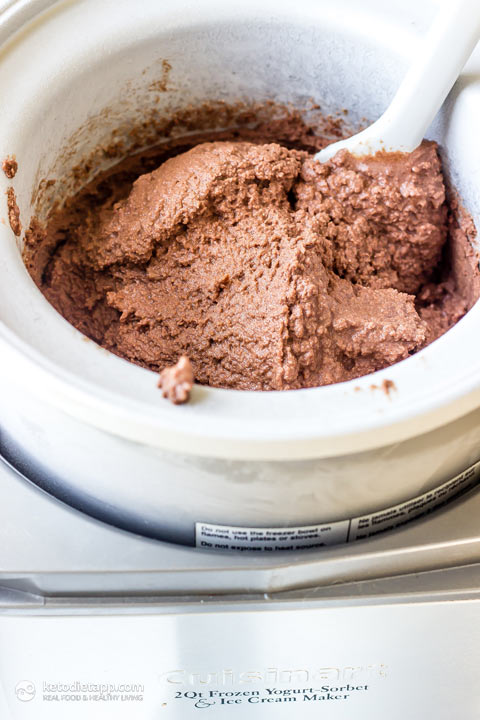 Keto Chocolate Ice Cream with Caramel Swirl