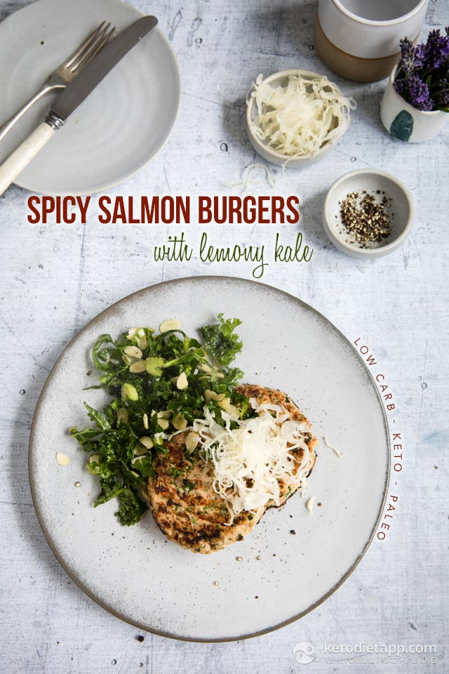 Spicy Keto Salmon Burgers with Lemony Kale