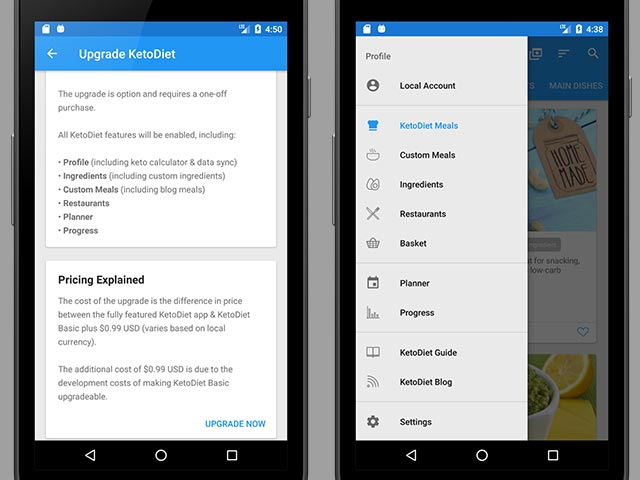 New Upgrade Path for KetoDiet Basic (Android)