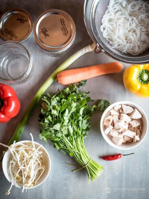 Keto Chicken Noodle Soup Jars
