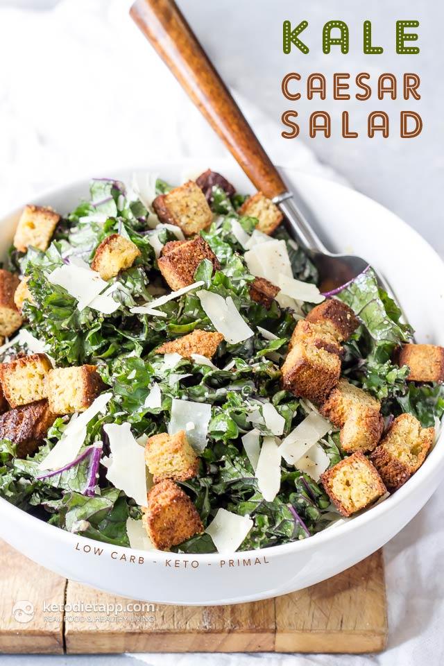 Keto Kale Caesar Salad