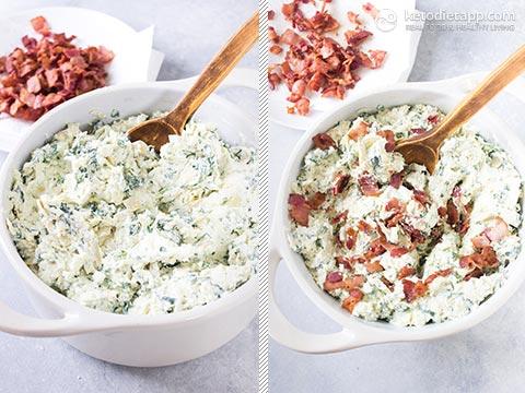 Keto Spinach Bacon & Artichoke Dip