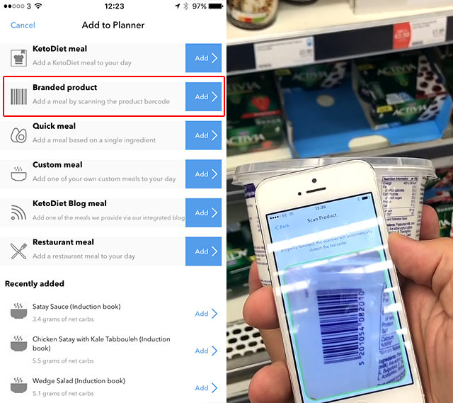 Barcode Scanning and Food Database in the KetoDiet App
