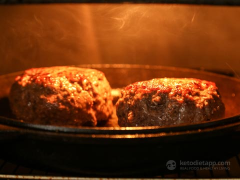 Goat Cheese Stuffed Burgers with Caramelized Onion