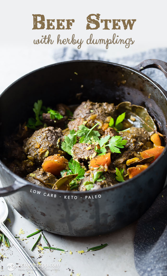 Low-Carb Beef Stew with Herby Dumplings