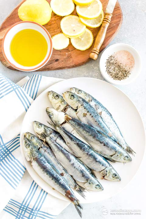 Grilled Sardines with Olive & Caper Salsa