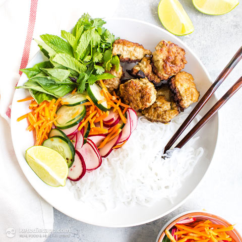 Low-Carb Vietnamese Turkey Meatball Bowls