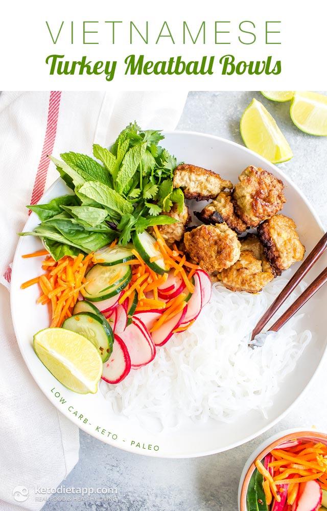 Low-Carb Vietnamese Turkey Meatball Bowls
