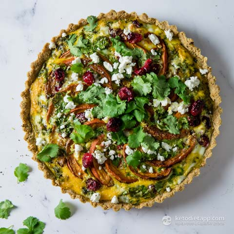 Low-Carb Pumpkin, Feta & Cranberry Tart