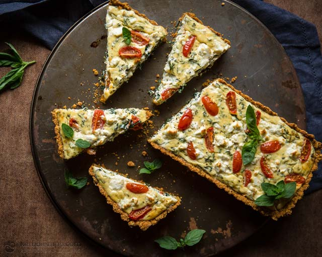 Low-Carb Tomato & Goat's Cheese Quiche