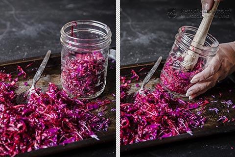 Homemade Pink Sauerkraut