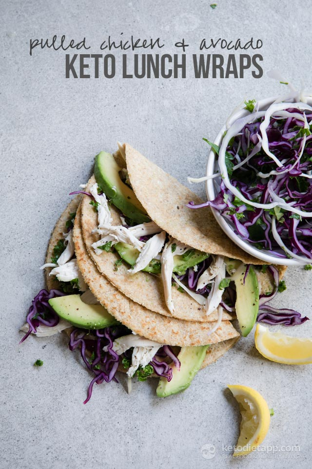 Pulled Chicken Keto Lunch Wraps