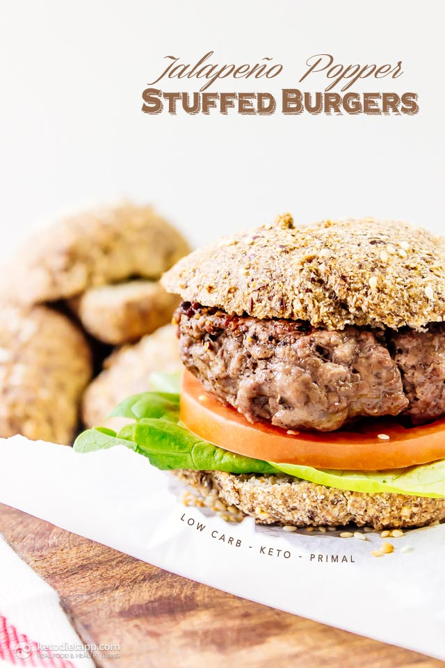 Keto Jalapeño Popper Stuffed Burgers