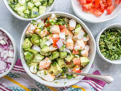 Keto Avocado Shrimp Ceviche Salad