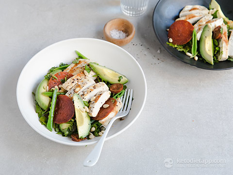 Low-Carb Chicken, Chorizo & Avocado Salad