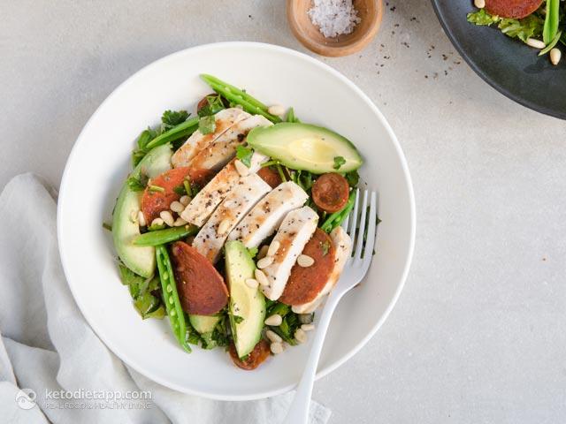 Low-Carb Chicken, Chorizo & Avocado Salad