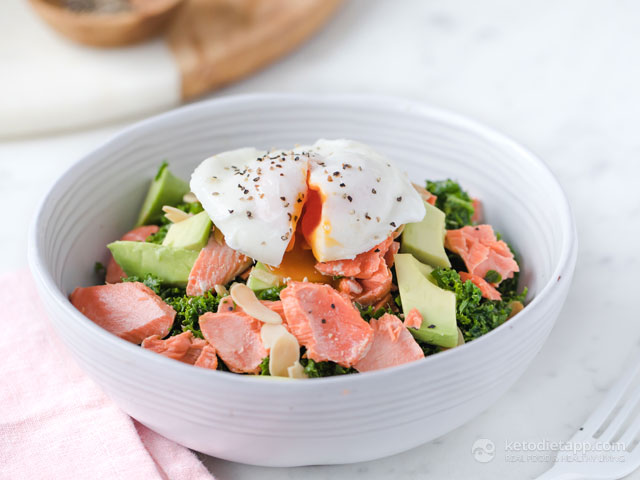 Keto Salmon, Kale & Poached Egg Bowl