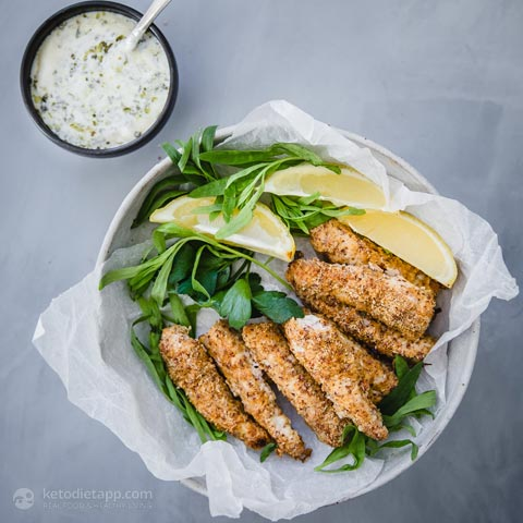 Keto Fish Fingers with Chimichurri Mayo